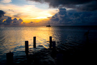 Sunset in Belize of the island of Caye Caulker